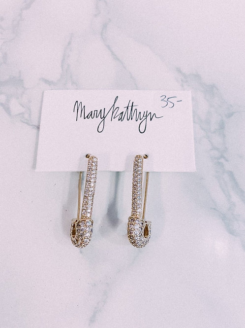 Gold Plated Rhinestone Safety Pin Earrings