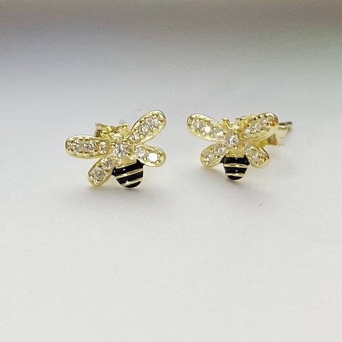 Rhinestone Bumble Bee Studs