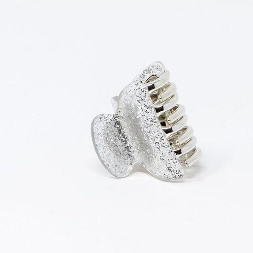 Silver Glitter Medium Hair Clip