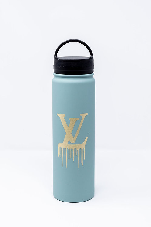 Slate Twist Top Water Bottle w/ Gold Glitter LV