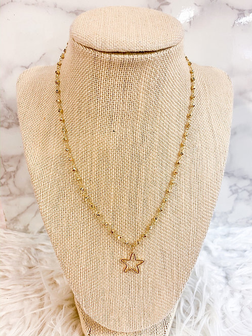 Open Star Necklace on Pyrite
