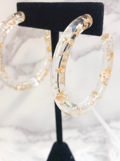 Clear Hoops with Gold Flakes
