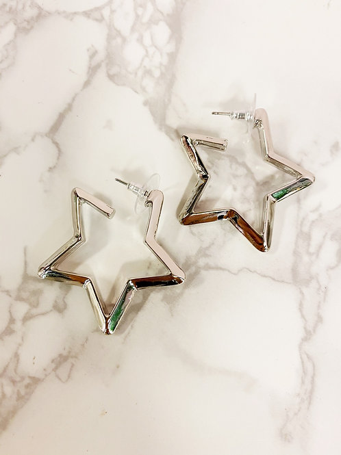 Silver Chunky Star Hoops