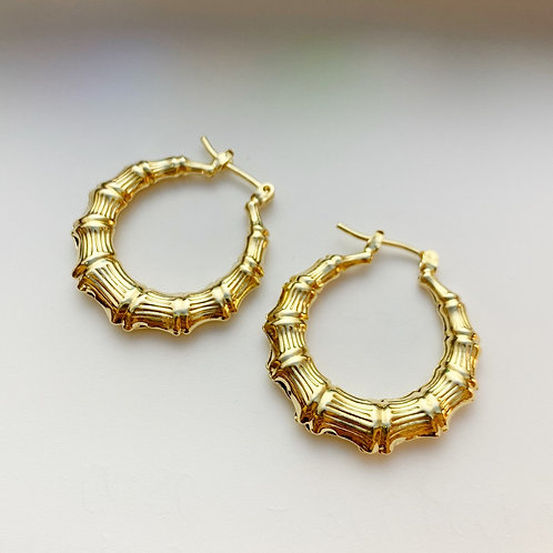 Bamboo Gold Tube Hoops