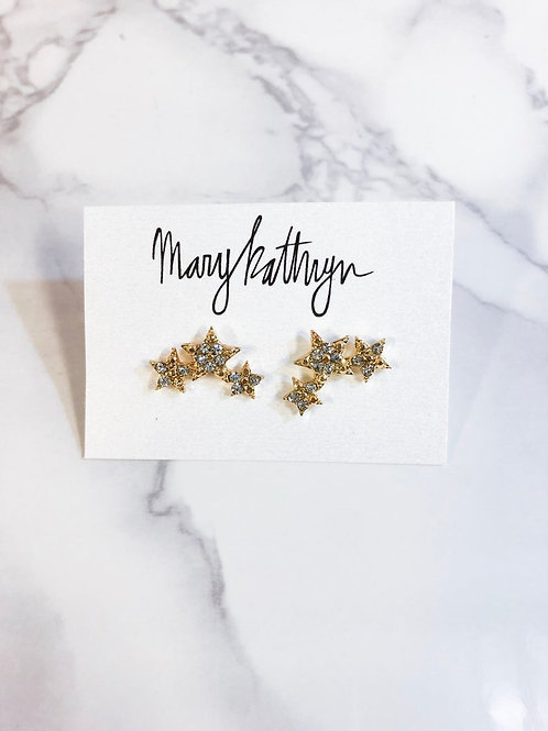 Triple Star Rhinestone Earrings