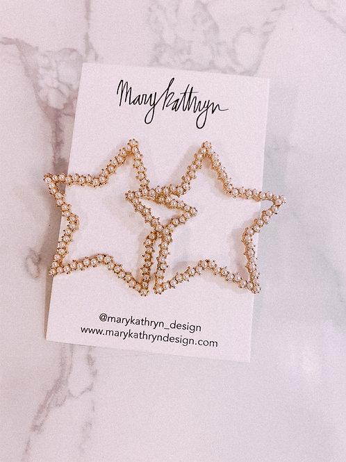Large Pearl Star Earrings
