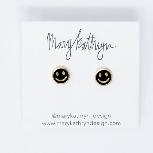 Black Smiley Face Studs