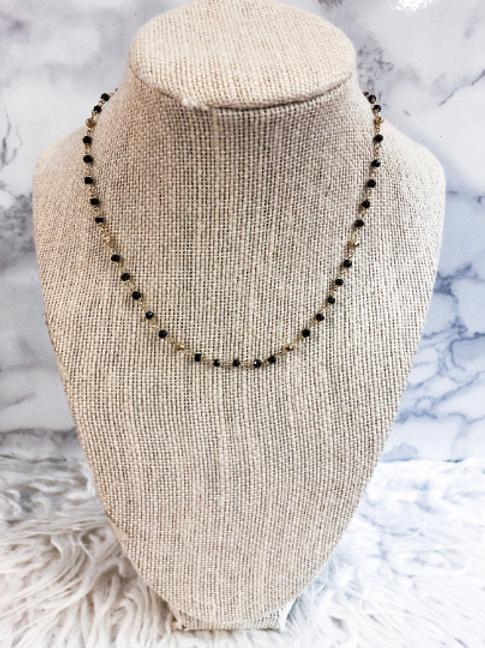 Black Spinel and Gold Beaded Chain