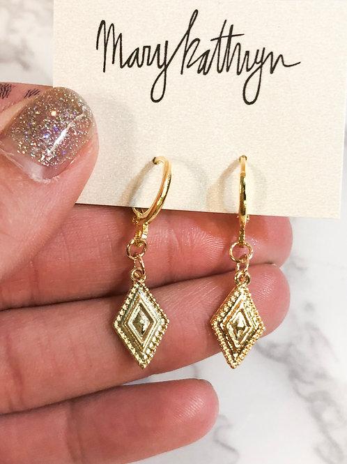 Decorative Diamond Huggie Earrings