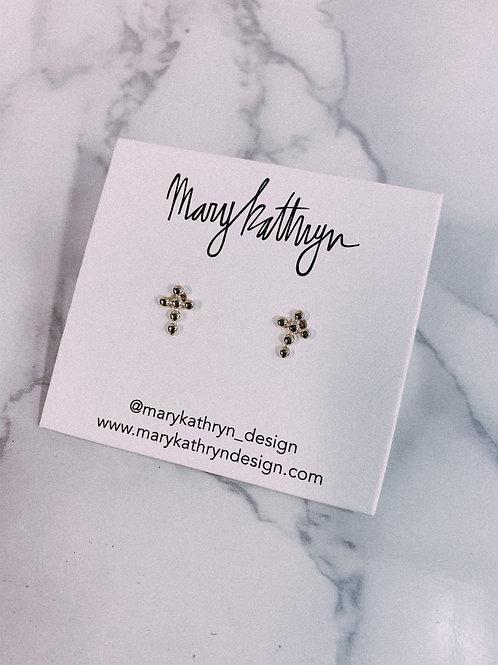 Studded Cross Stud Earrings