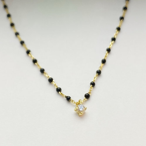 Gold Enamel Chain with CZ Pendant