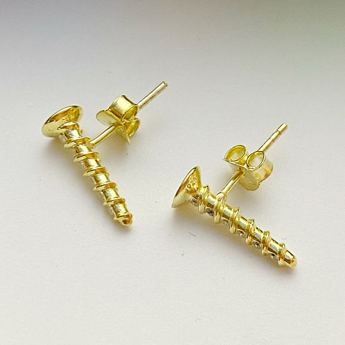 Gold Screw Stud Earrings