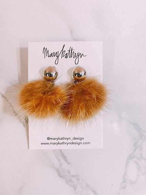 Mustard Mink Puff Earrings