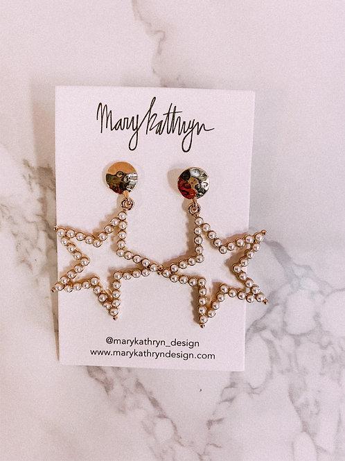 Pearl Star Drop Earrings