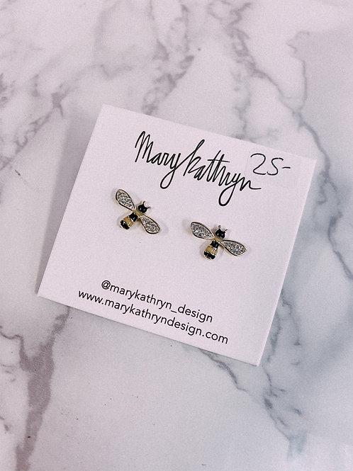 Rhinestone Bumble Bee Studs (sale)