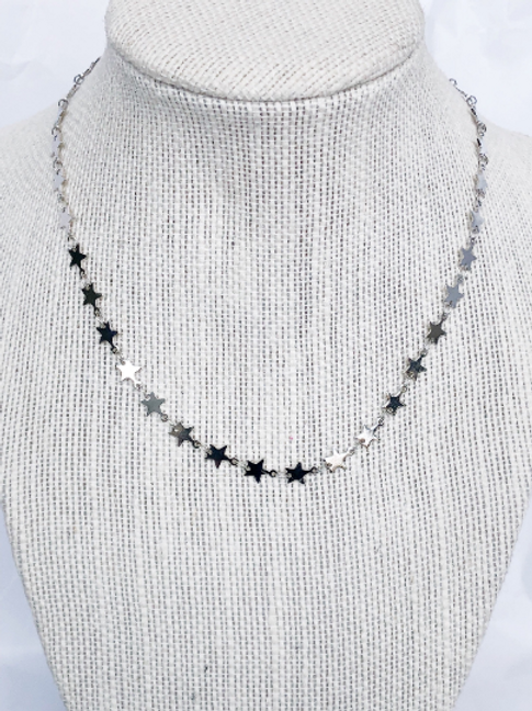 Silver Plated Star Link Necklace