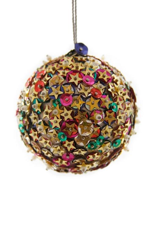 Beaded Star Ball Ornament