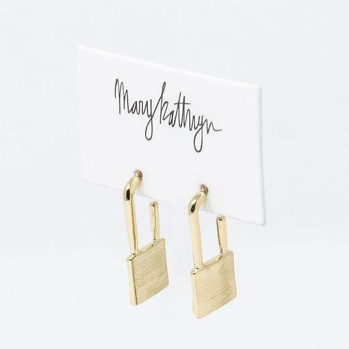 Gold Lock Dangle Earrings