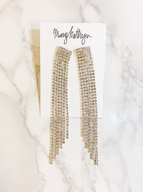 Silver Rhinestone Threaded Earrings