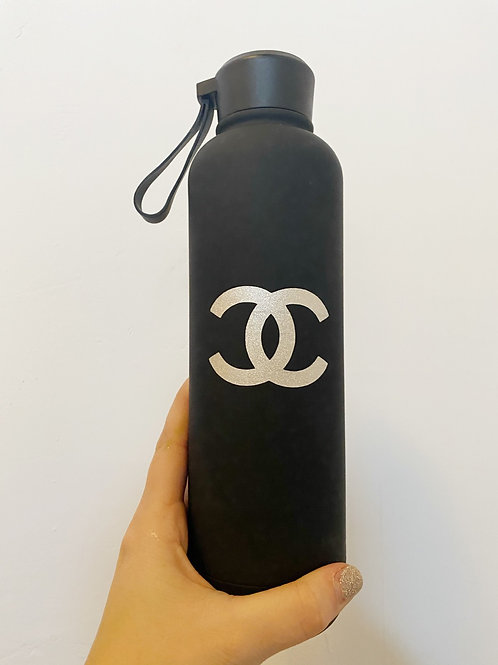 Black Water Bottle with Silver Glitter CC