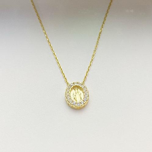 Gold CZ Saint Necklace