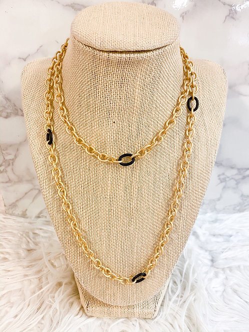 Matte Gold and Black Long Chain