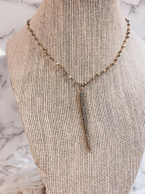 Rhinestone Dagger Necklace
