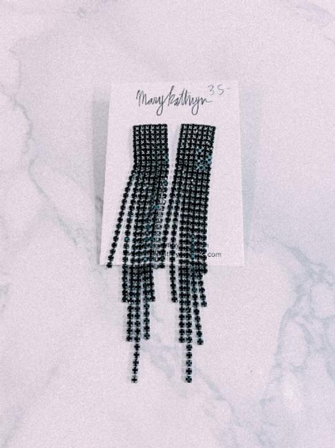 Black Sparkly Threaded Earrings