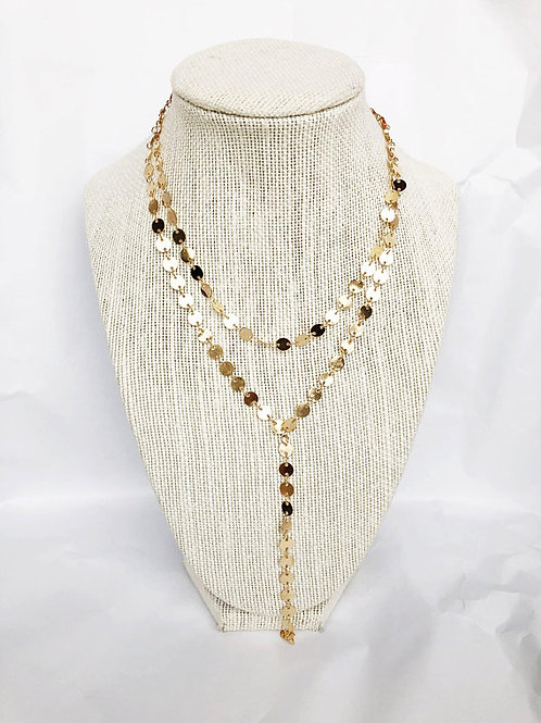 Gold Disc + Choker Lariat Necklace