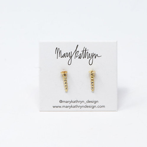 Gold Screw Stud Earrings