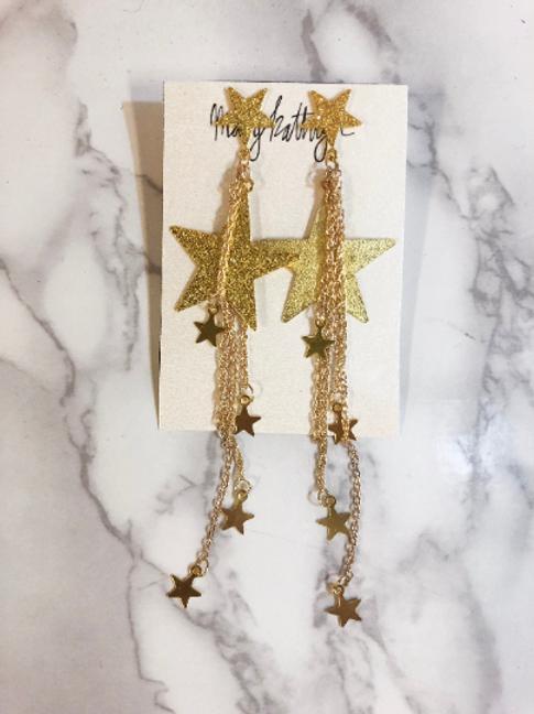 Glitter Long Star Earrings