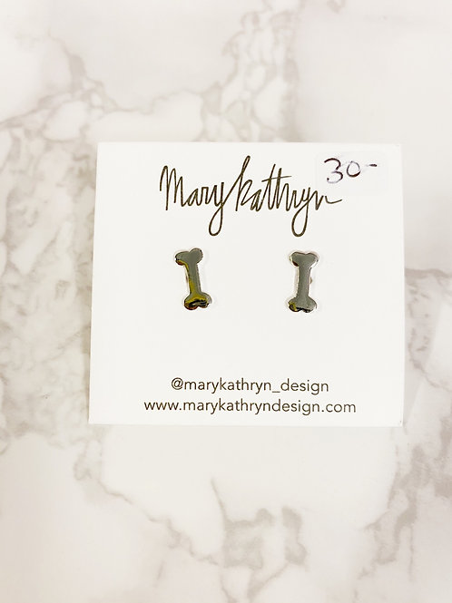 Silver Dog Bone Earrings