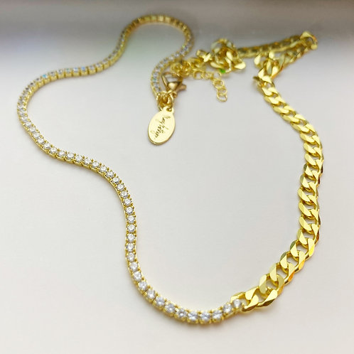 CZ Tennis Two Toned Chain