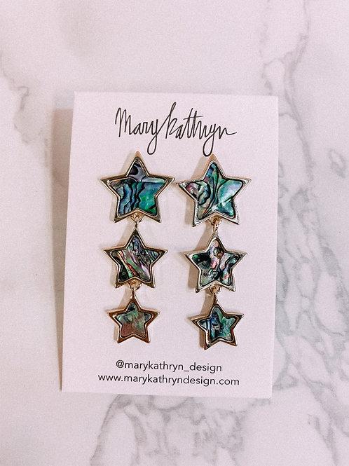 Abalone Star Drop Earrings