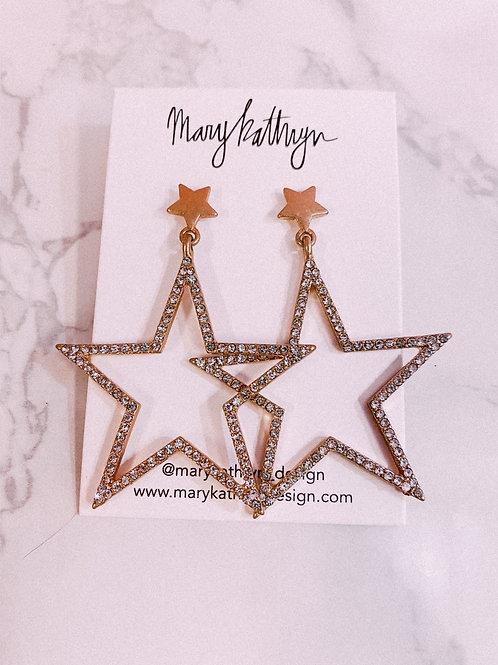 Star CZ Drop Earrings