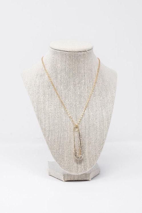 Rhinestone Safety Pin Necklace