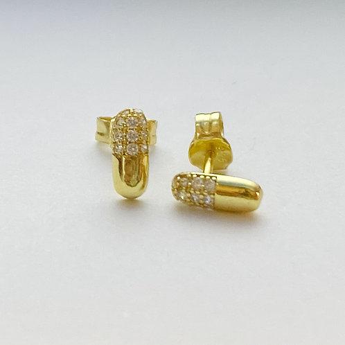 Gold Rhinestone Pill Capsule Studs