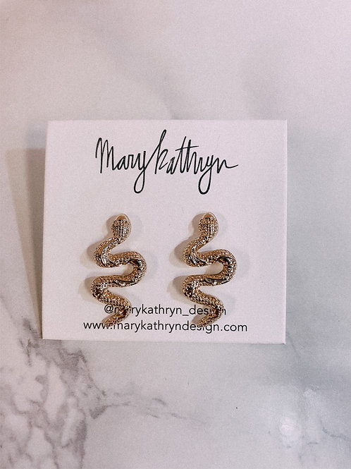 Medium Gold Plated Snake Studs