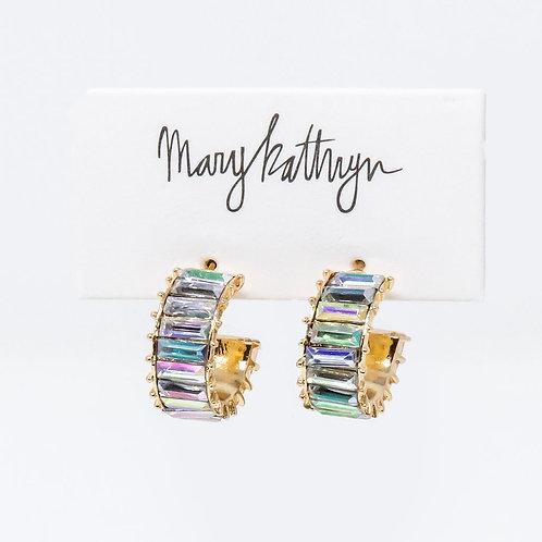 Iridescent Rhinestone Hoop Earrings