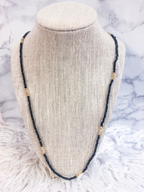 Black Spinel and Pyrite Chain