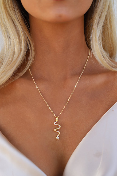 Rhinestone Snake Necklace // Golden Galaxy // Mace & Chlo Collection
