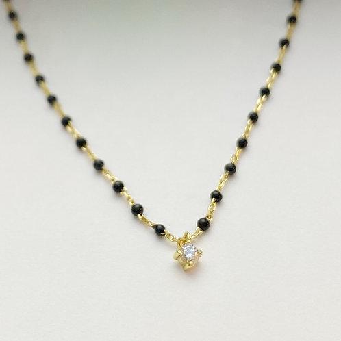 Gold Enamel Chain with CZ Pendant