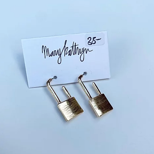 Gold Lock Dangle Earrings