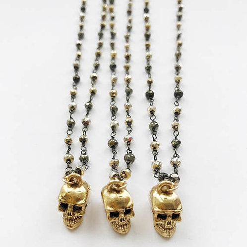 Gold Skull on Mixed Pyrite
