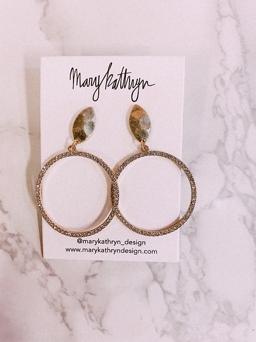 Circle CZ Hoop Drop Earrings