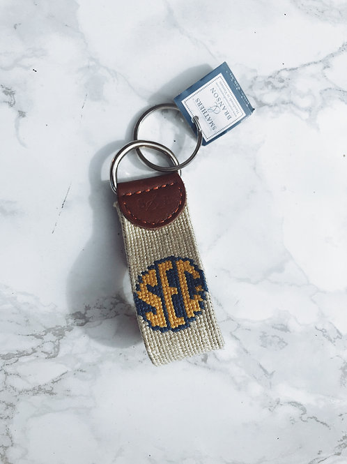 SEC Needlepoint Key Fob