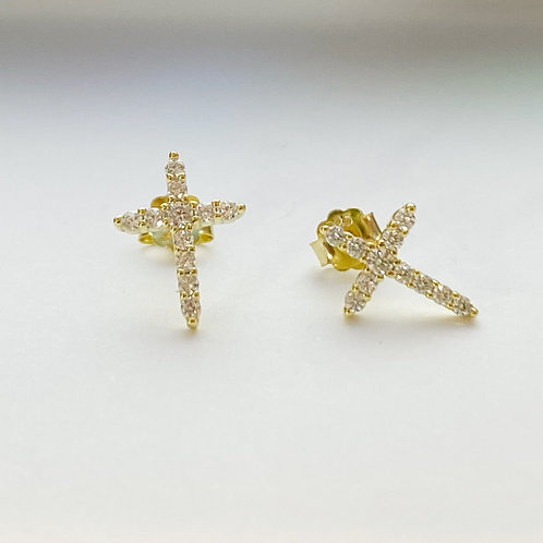 Long Rhinestone Cross Studs