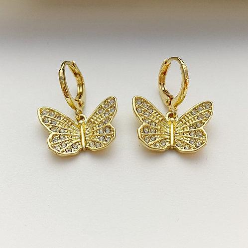 Rhinestone Butterfly Huggies (medium)