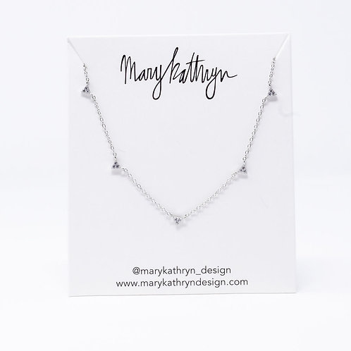 Pave Triangle Necklace (SILVER)