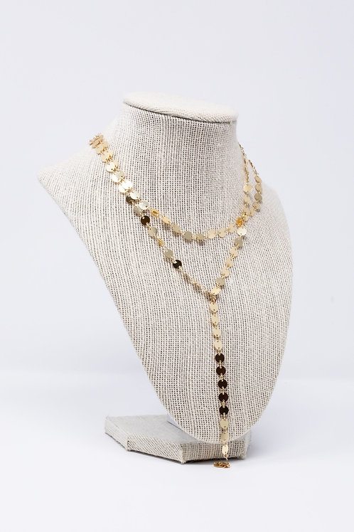 Gold Coin Lariat Necklace